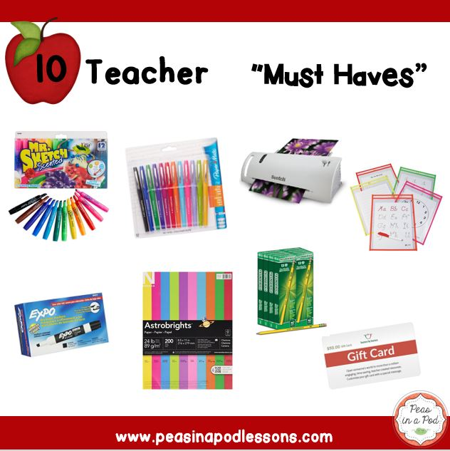 Win Our 10 Teacher Quot Must Haves Quot Peas In A Pod Lessons
